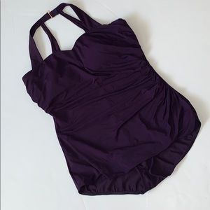 LANDs END purple one piece swim 16D